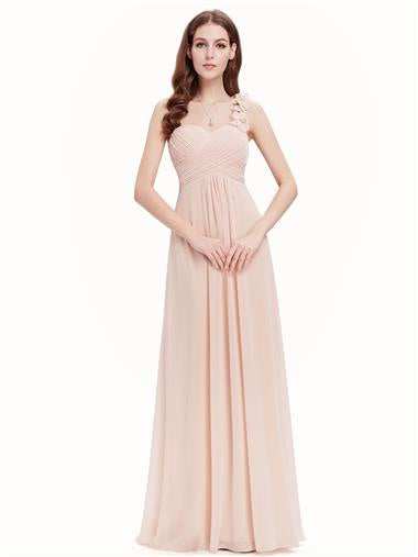 Flowers One Shoulder Bridesmaid Dress Nude