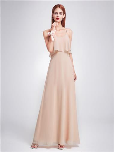 Nude Ruffle Spaghetti Strap Bridesmaid Dress