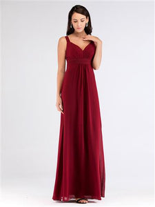 Burgundy Ruched Bust Bridesmaid Dress