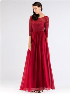 Lace 3/4 Sleeve Burgundy Bridesmaid Dress