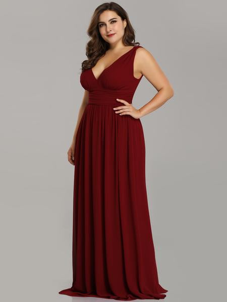 Burgundy Double V Elegant Burgundy Bridesmaid Dress