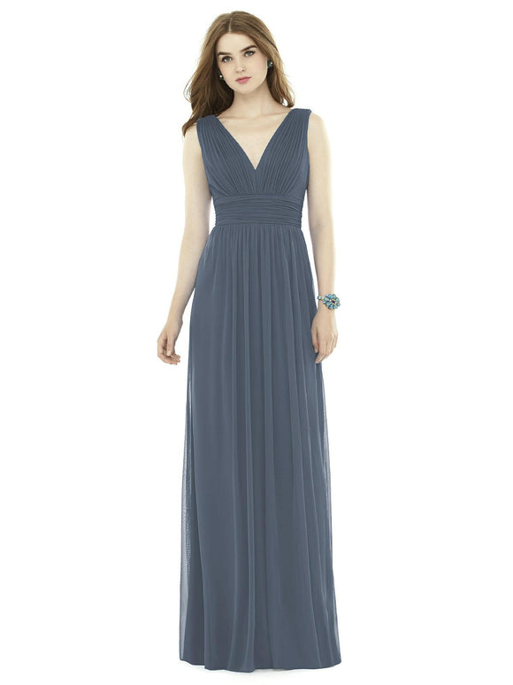 V-Neckline Sleeveless Bridesmaids Dress