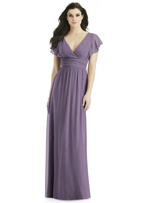 Ruffle Sleeve V-Neck Bridesmaids Dress