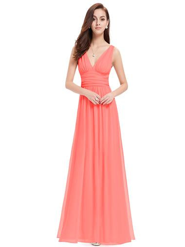 Coral Deep  V Elegant Bridesmaid Dress