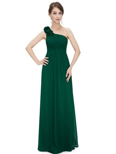 Dark Green One Shoulder Bridesmaid Dress
