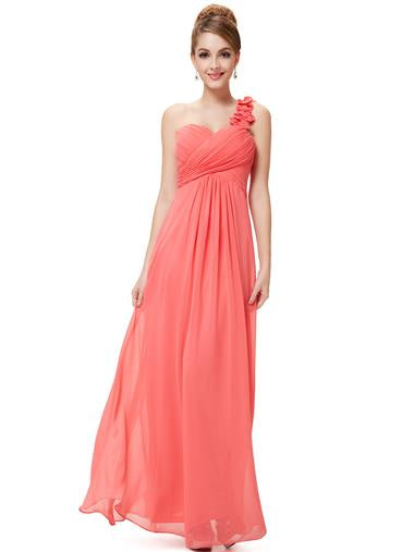 Flowers One Shoulder Bridesmaid Dress Coral