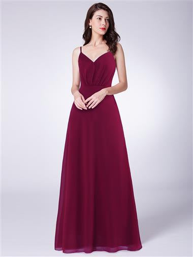 Burgundy Spaghetti Strap Bow Feature In Back Bridesmaid Dress