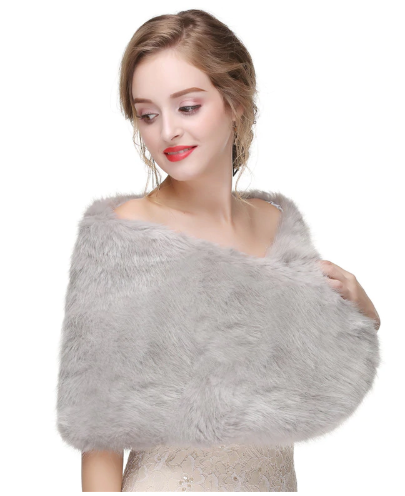 Grey Shaggy Faux Fur Shawl