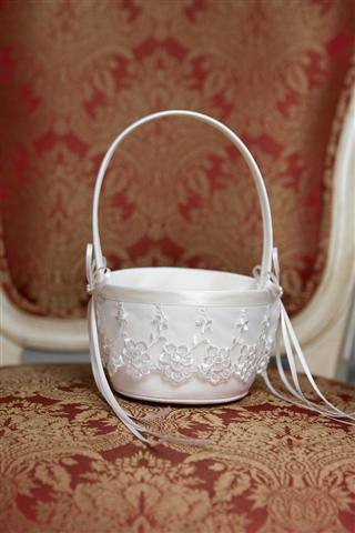 Flower Girl Basket Lace Trim