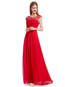 Red Lacey Neckline Bridesmaid Dress