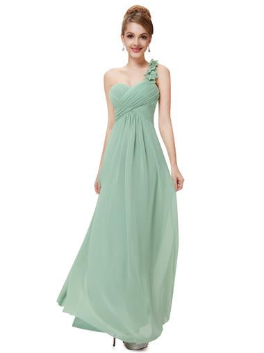Flowers One Shoulder Bridesmaid Dress Sage Green