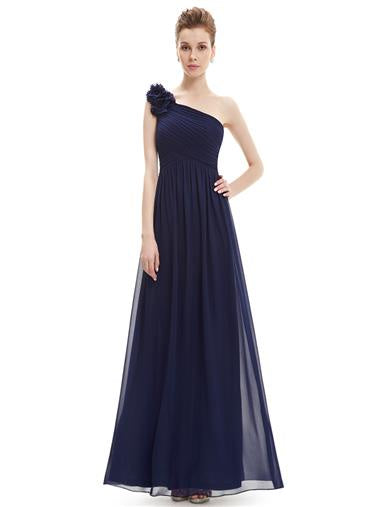 Navy Blue One Shoulder Bridesmaid Dress