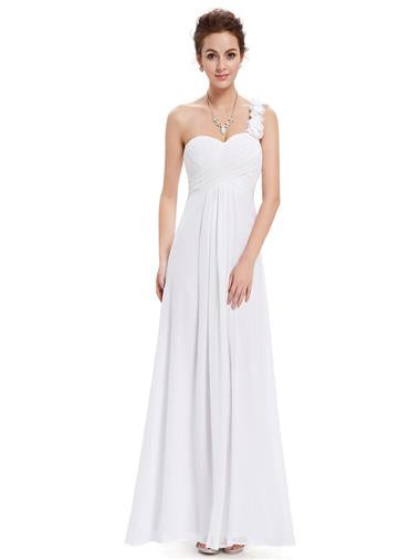 Flowers One Shoulder Bridesmaid Dress White