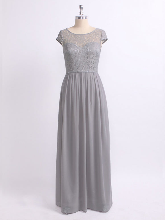 Grey Lace Bodice Cap Sleeve Bridesmaids Dress