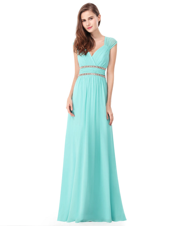 Rhinestone Waistband Bridesmaid Dress Aqua