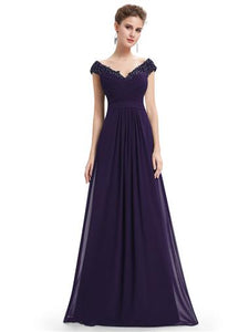 Lace Shoulder Bridesmaid Dress Dark Purple