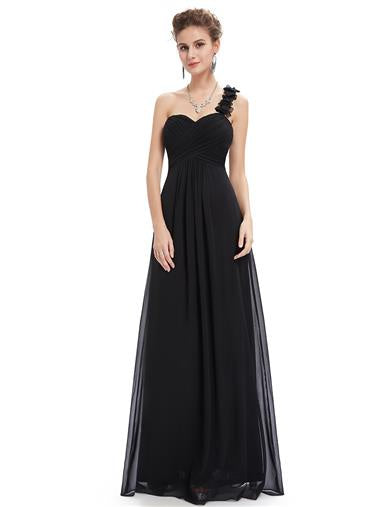 Flowers One Shoulder Bridesmaid Dress Black