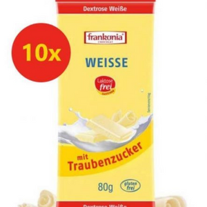 Pack 10 tabletas chocolate blanco sin fructosa 80 gr FRANKONIA