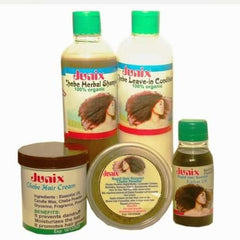 JUNIX Chebe Shampoo, Chebe Leave-in-Conditioner, Chebe Powder, Karkar Oil and Chebe Hair Cream Set (Big Sizes)