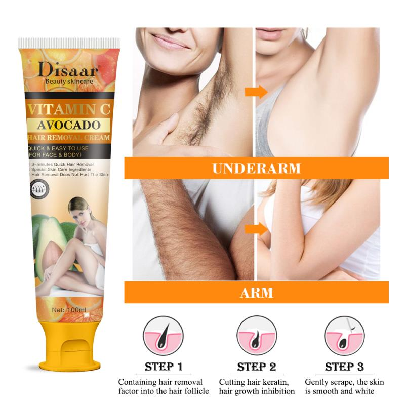 Vitamin C and Avocado Hair Removal Cream (100ML) with FREE Spatula