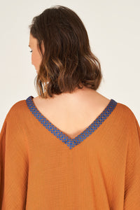 <transcy>Kaftan Cinnamon with Brown - Royal-Blue Tape</transcy>