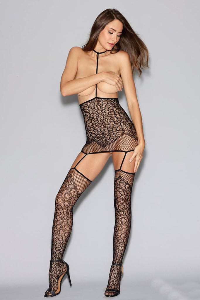 Lace and Fishnet Garter Dress