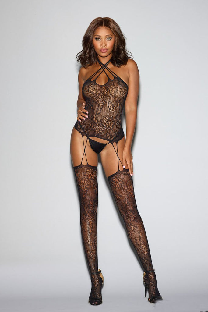 Fishnet Lace Bustier Bodystocking