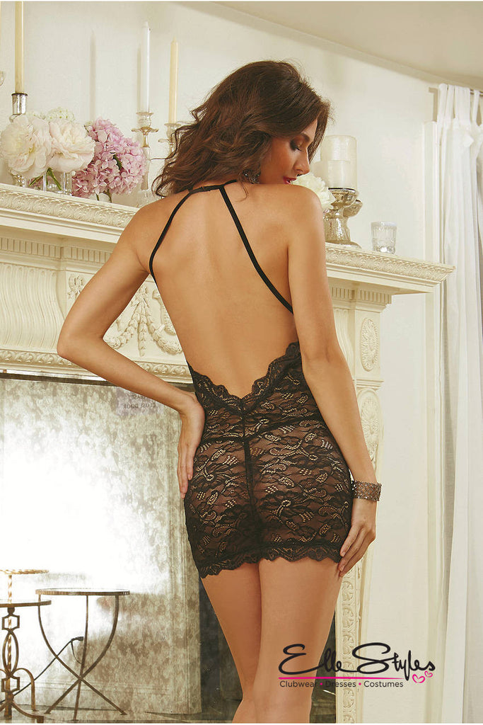Lace Chemise Criss-Cross Back Dress ElleStyles