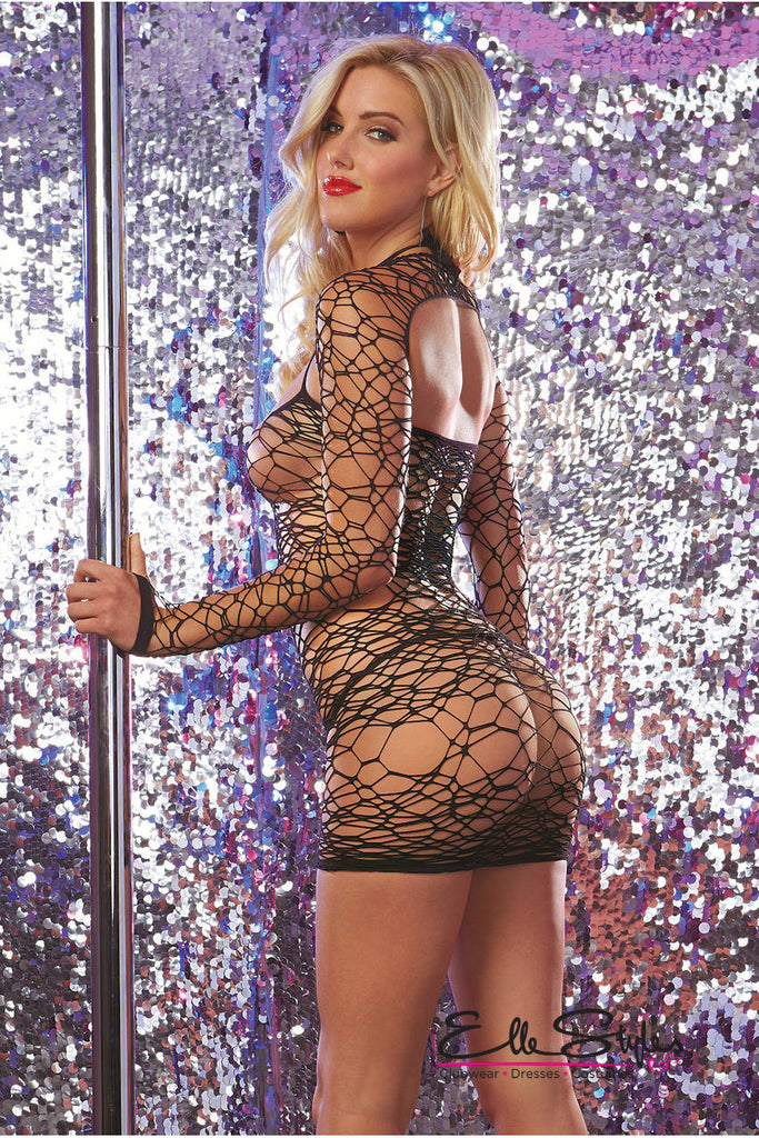 Large Net Seamless Halter Dress ElleStyles