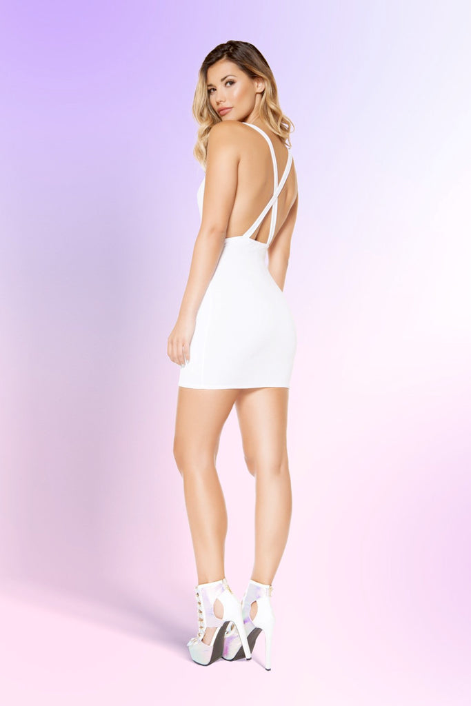 Low Back Cowl Neck Mini Dress