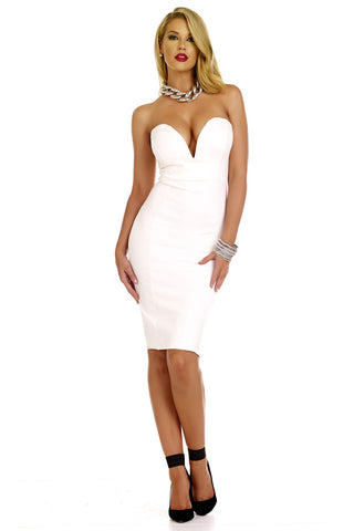 Sexy White and Black Bandage Dress
