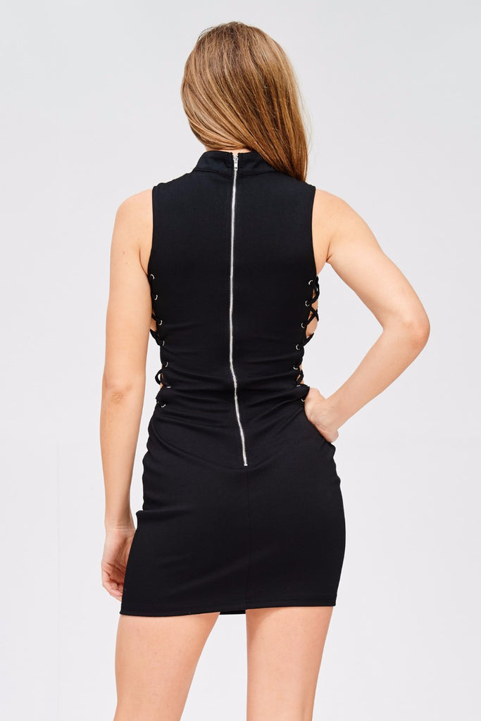 SIDE LACE UP BODYCON DRESS