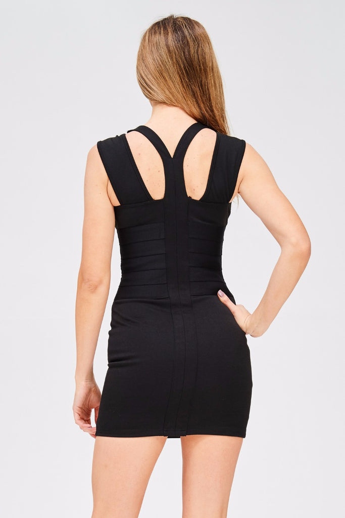 WAIST BANDAGE DETAIL DRESS