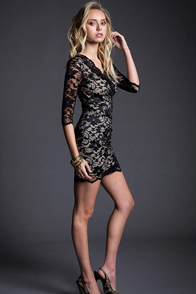 3/4 SLEEVE LACE DRESS ElleStyles