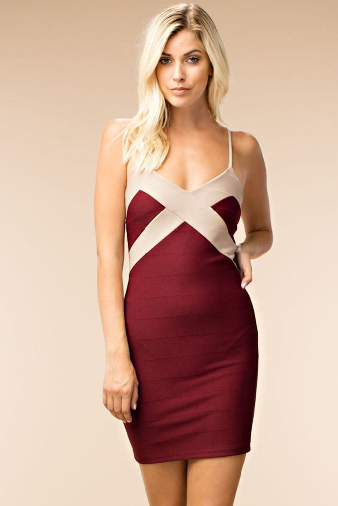 Faux Bandage Bodycon Dress ElleStyles