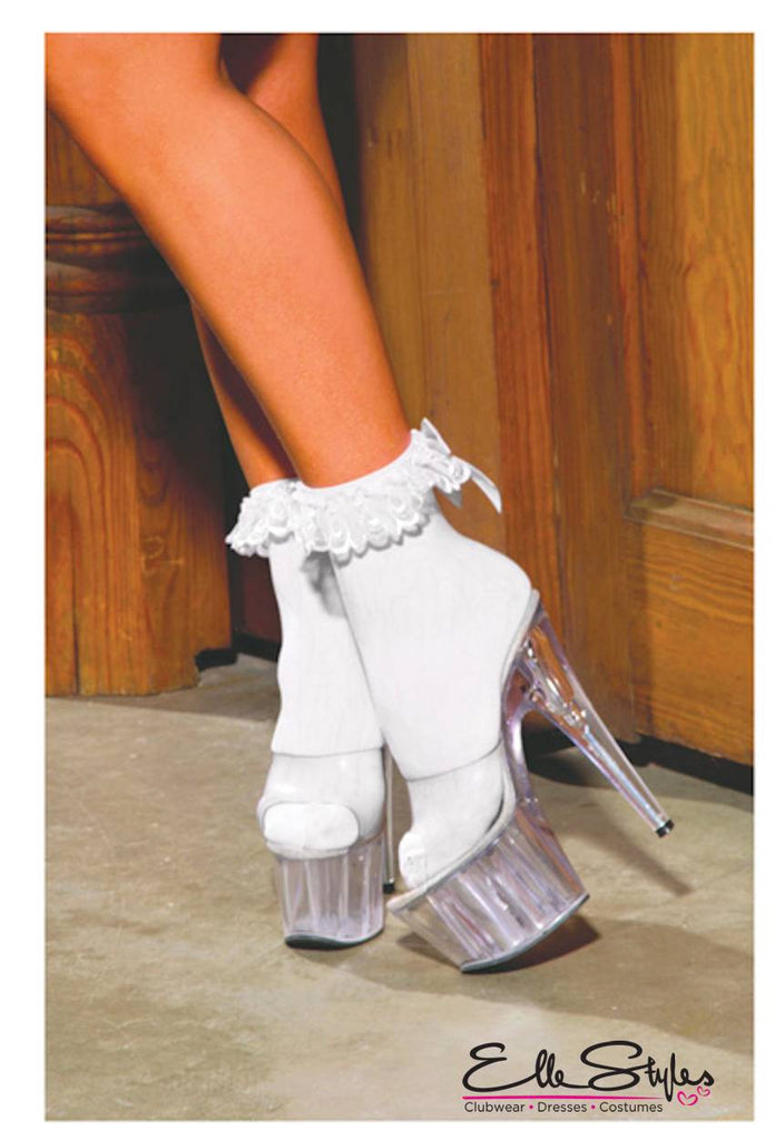 Nylon Anklet Ruffle And Satin Bow
