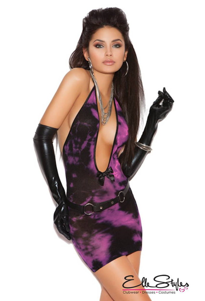 Vivace Deep V Tie Dye Dress ElleStyles