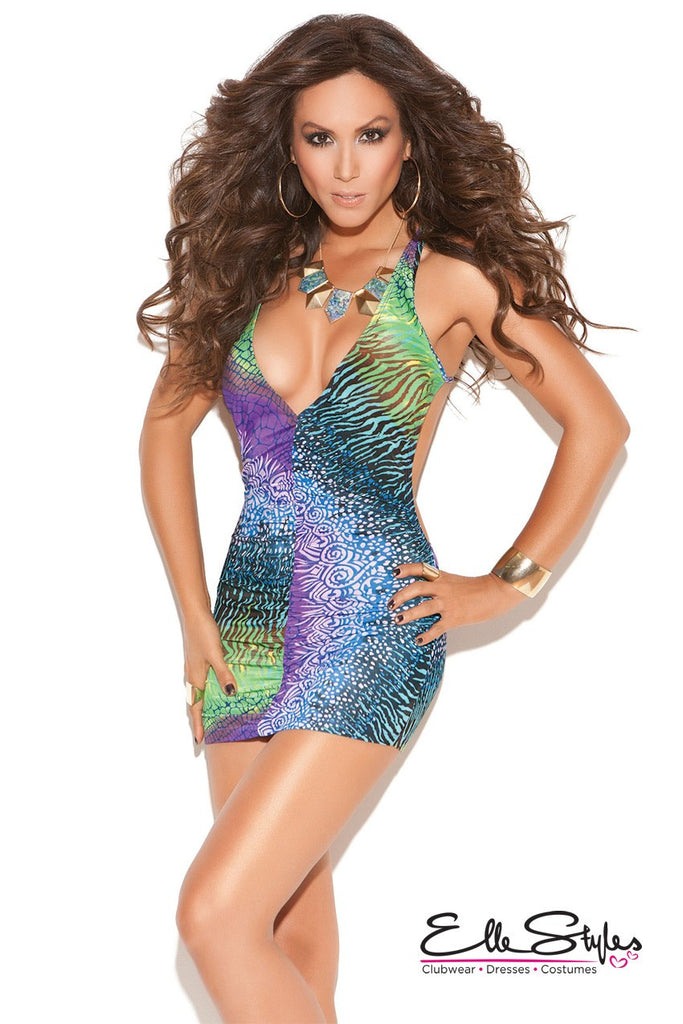 Vivace Deep V Mini Dress Multi Color ElleStyles
