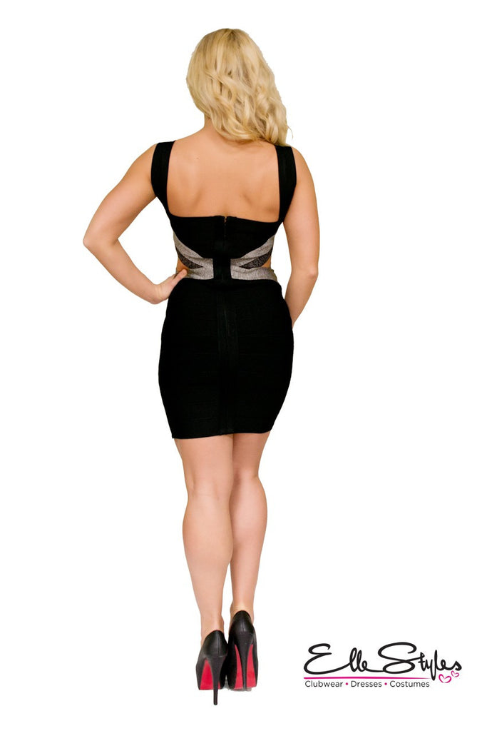 Weaved Black and Grey Bandage Dress ElleStyles
