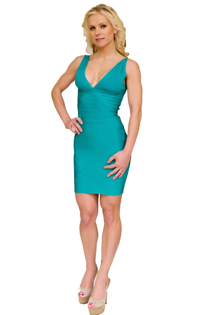 V-Neck Bandage Dress Blue ElleStyles