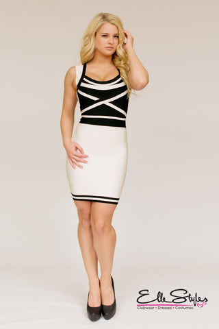 Jacquard Print Bandage Dress