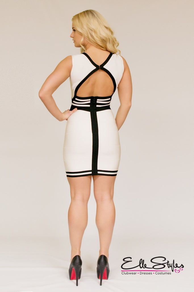 Sexy White and Black Bandage Dress ElleStyles