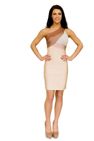 V-Neck Orange Bandage Dress