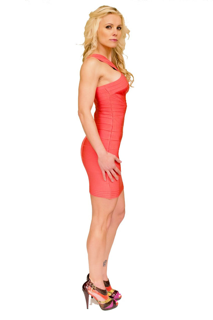 Watermelon Red Bandage Dress ElleStyles