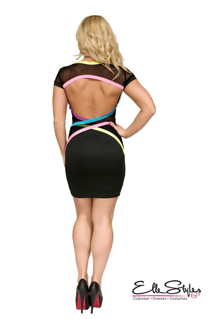 Multicolour Back Bodycon Club Dress ElleStyles