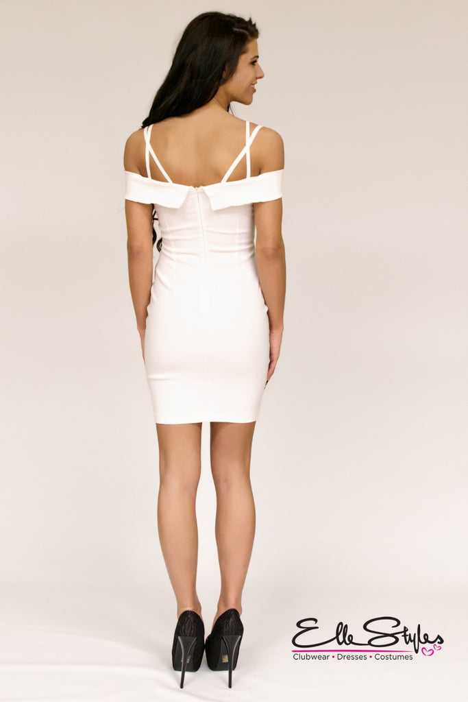 Off Shoulder Strap V Neckline Dress ElleStyles