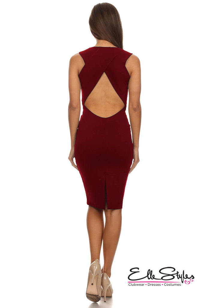 Bodycon Dress With Low V ElleStyles