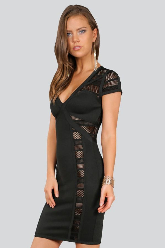 Cap Sleeve Multi Mesh Blocked Bandage Dress ElleStyles
