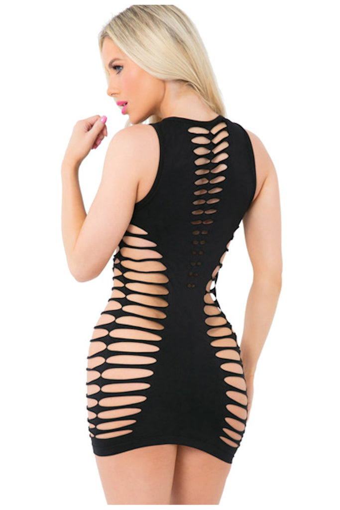 High Neck Slashed Seamless Dress