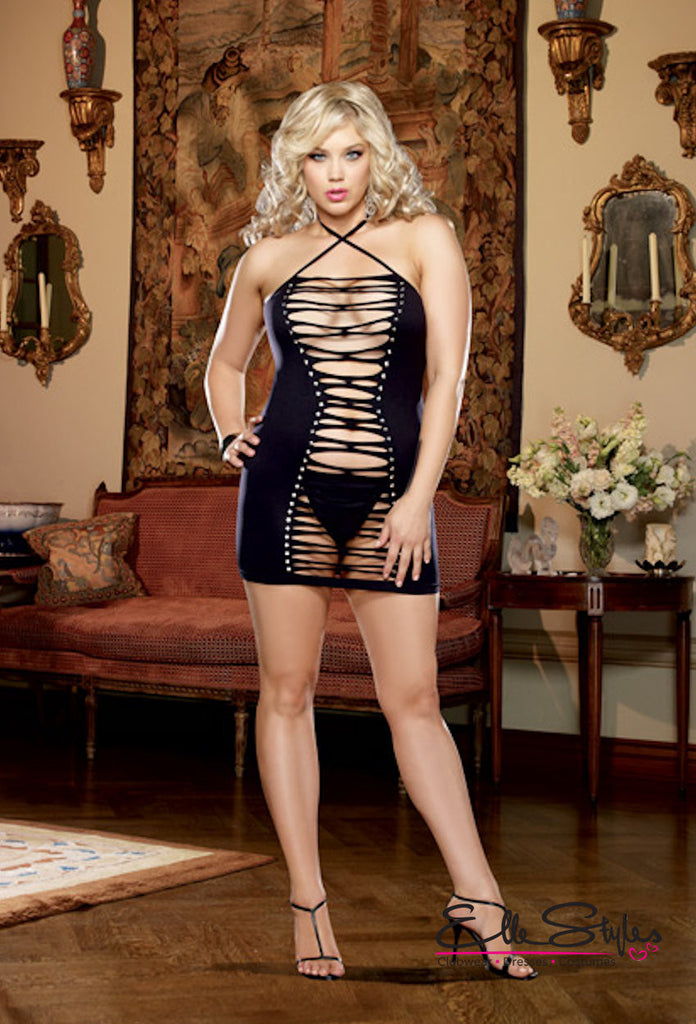 Seamless Halter Dress and G-String Queen ElleStyles